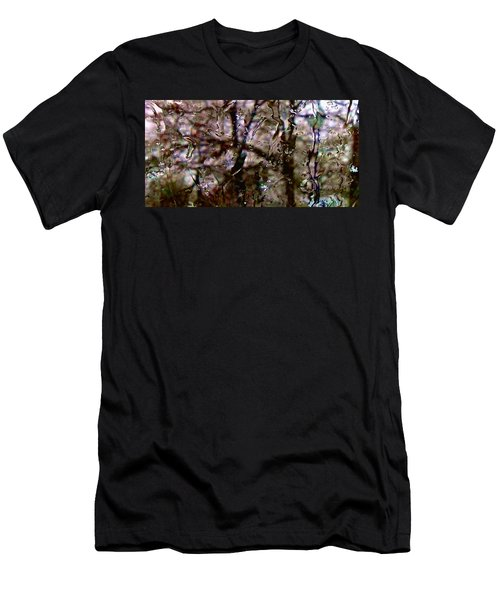 Men's T-Shirt (Slim Fit) featuring the photograph Rainscape - Rain On The Window Series 3 Abstract Photo by Marianne Dow