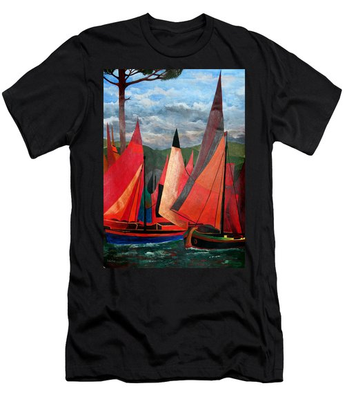 Men's T-Shirt (Slim Fit) featuring the painting Ravenna Regatta by Tracey Harrington-Simpson