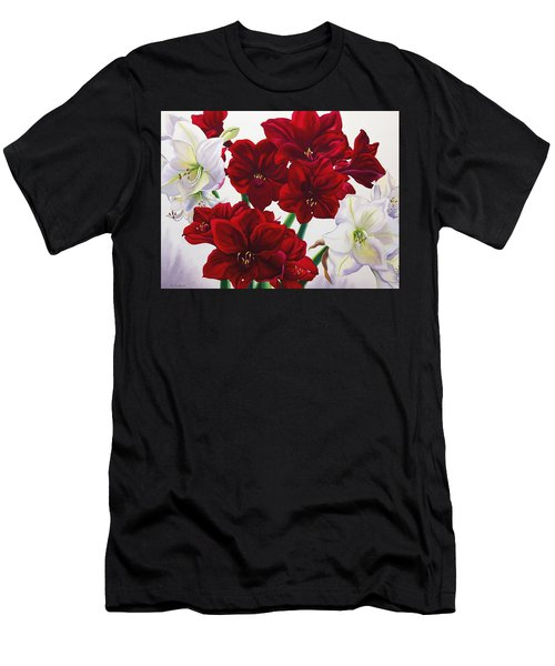 Red And White Amaryllis Men's T-Shirt (Athletic Fit)