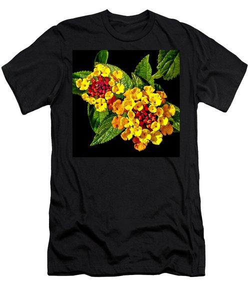 Red And Yellow Lantana Flowers With Green Leaves Men's T-Shirt (Athletic Fit)