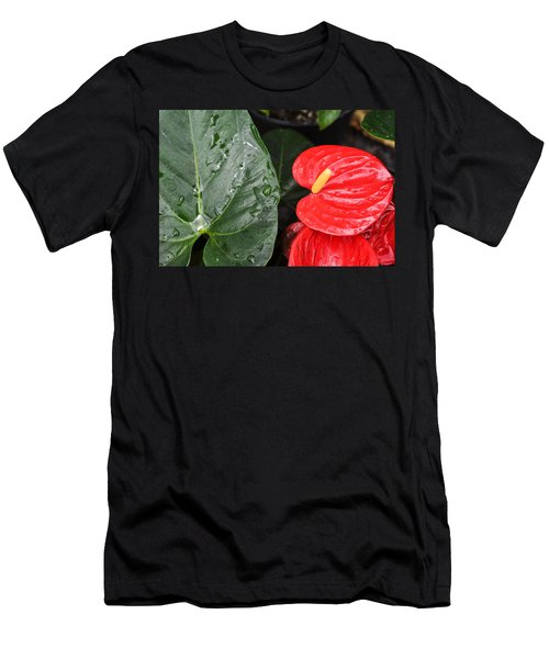 Red Anthurium Flower Men's T-Shirt (Athletic Fit)