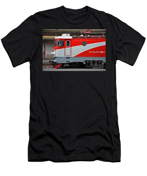 Men's T-Shirt (Slim Fit) featuring the photograph Red Electric Train Locomotive Bucharest Romania by Imran Ahmed