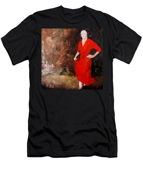 Men's T-Shirt (Slim Fit) featuring the painting Red Ellegance by Keith Thue
