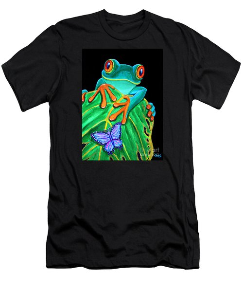 Red-eyed Tree Frog And Butterfly Men's T-Shirt (Athletic Fit)