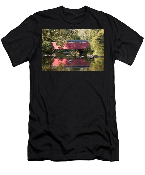 Red Fairhill Covered Bridge Two Men's T-Shirt (Athletic Fit)