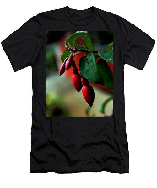 Red Flower Buds Men's T-Shirt (Slim Fit) by Pamela Walton