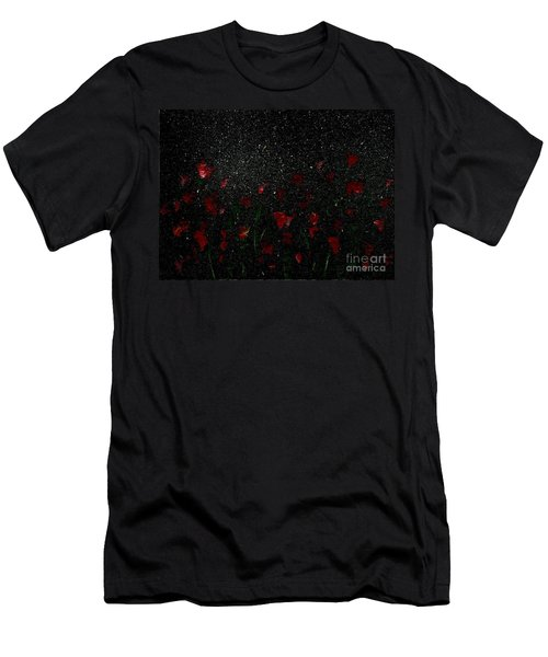 Men's T-Shirt (Slim Fit) featuring the painting Red Flowers In Moonlight by Becky Lupe