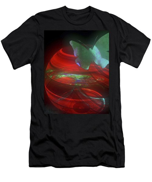 Red Fractal Bowl With Butterfly Men's T-Shirt (Athletic Fit)