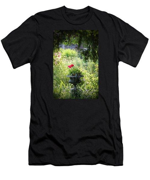 Red Geranium Men's T-Shirt (Slim Fit) by John Stuart Webbstock