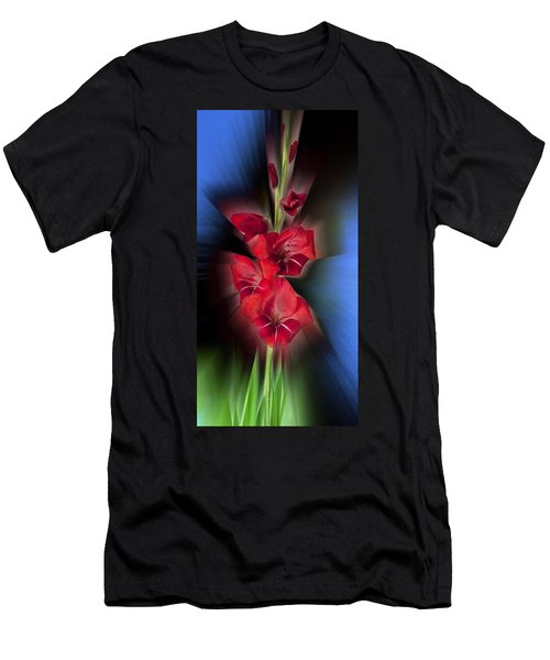 Men's T-Shirt (Slim Fit) featuring the photograph Red Gladiola by Mark Greenberg
