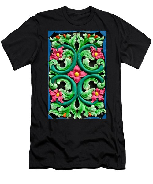 Red Green And Blue Floral Design Singapore Men's T-Shirt (Slim Fit) by Imran Ahmed