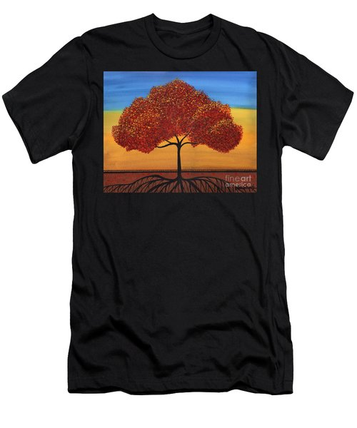 Red Happy Tree Men's T-Shirt (Athletic Fit)