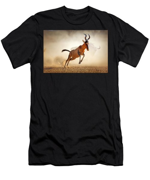 Red Hartebeest Running In Dust Men's T-Shirt (Athletic Fit)