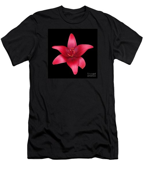 Men's T-Shirt (Slim Fit) featuring the photograph Red Lily by Judy Whitton