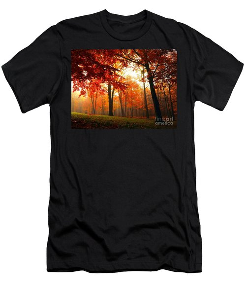Red Maple Forest Men's T-Shirt (Slim Fit) by Terri Gostola