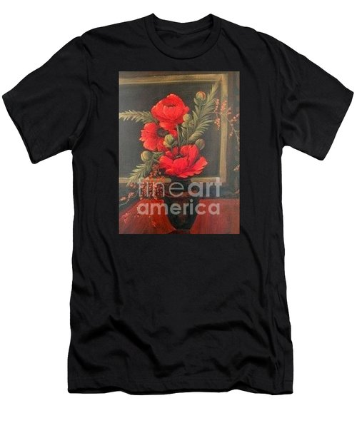 Red Poppies Men's T-Shirt (Slim Fit) by Glory Wood