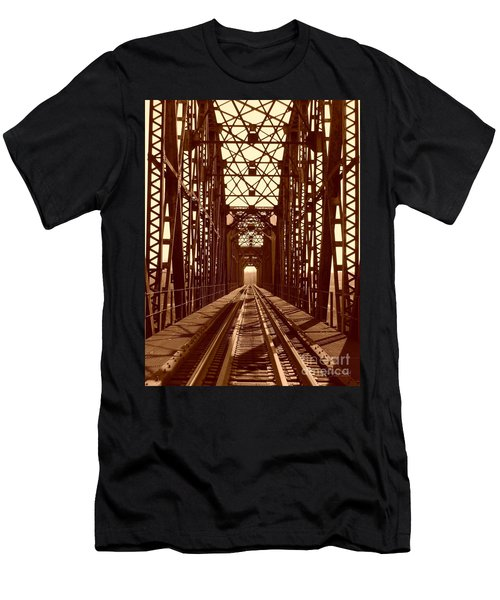 Men's T-Shirt (Slim Fit) featuring the photograph Red River Train Bridge #1 by Robert ONeil