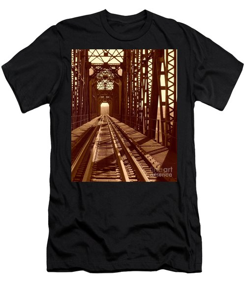 Men's T-Shirt (Slim Fit) featuring the photograph Red River Train Bridge #2 by Robert ONeil