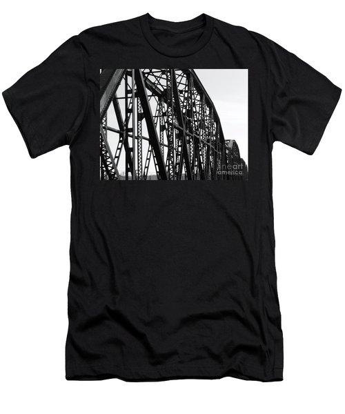 Men's T-Shirt (Slim Fit) featuring the photograph Red River Train Bridge #4 by Robert ONeil