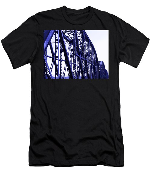 Men's T-Shirt (Slim Fit) featuring the photograph Red River Train Bridge #5 by Robert ONeil