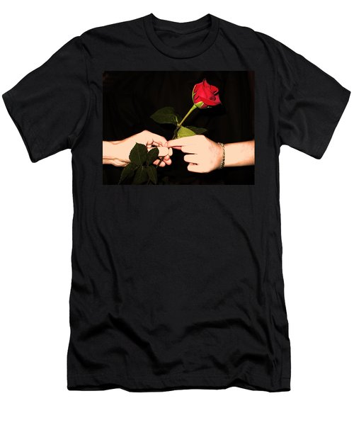 Red Rose By Jan Marvin Studios Men's T-Shirt (Athletic Fit)