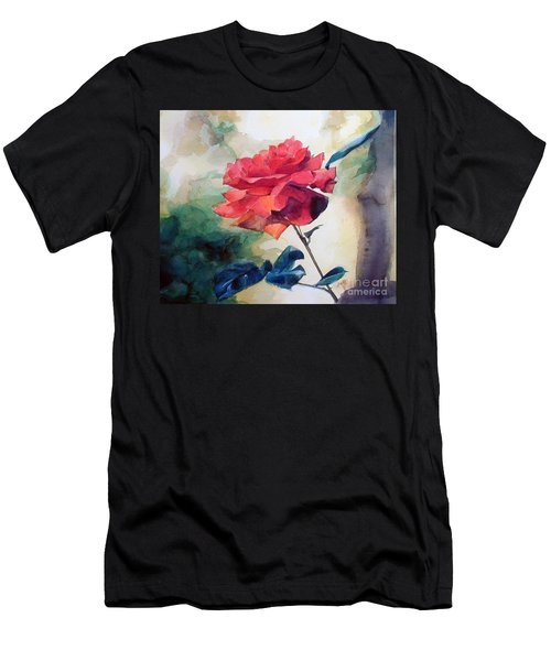 Watercolor Of A Single Red Rose On A Branch Men's T-Shirt (Athletic Fit)