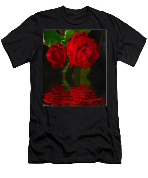 Red Roses Reflected Men's T-Shirt (Slim Fit) by Joyce Dickens