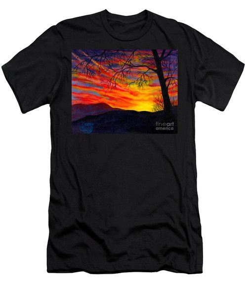 Men's T-Shirt (Athletic Fit) featuring the painting Red Sunset by Nancy Cupp