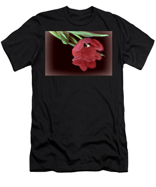 Red Tulip On Burgundy Men's T-Shirt (Athletic Fit)