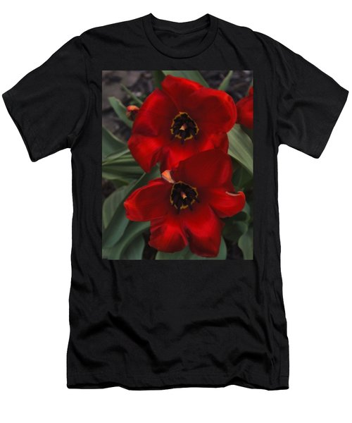 Red Tulip Pair Men's T-Shirt (Athletic Fit)