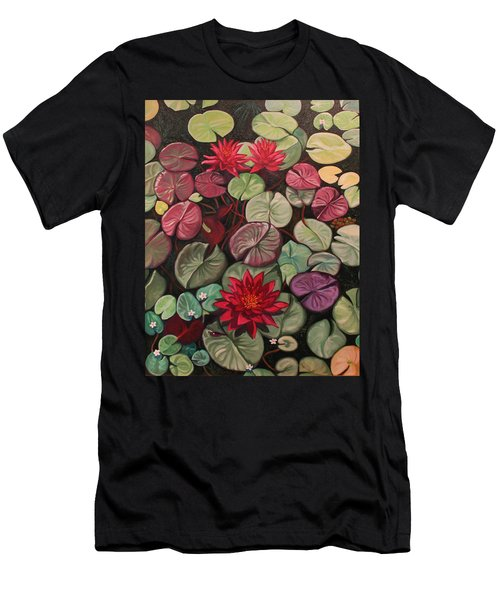 Red Water Lilies Men's T-Shirt (Athletic Fit)