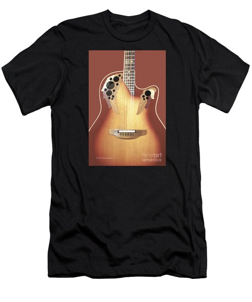 Redish-brown Guitar On Redish-brown Background Men's T-Shirt (Athletic Fit)
