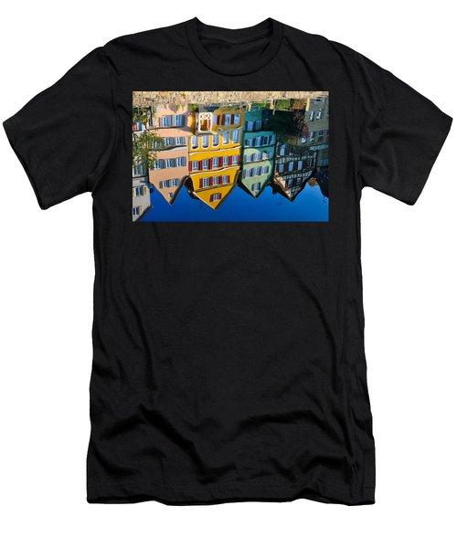 Reflection Of Colorful Houses In Neckar River Tuebingen Germany Men's T-Shirt (Slim Fit) by Matthias Hauser