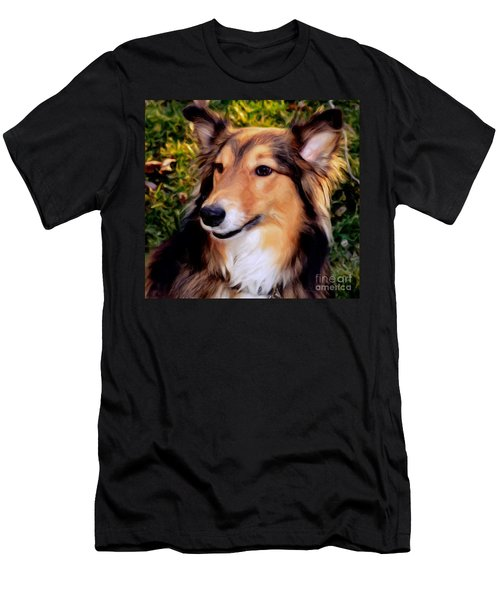 Men's T-Shirt (Slim Fit) featuring the photograph Dog - Collie - Regal Shelter Dog by Luther Fine Art