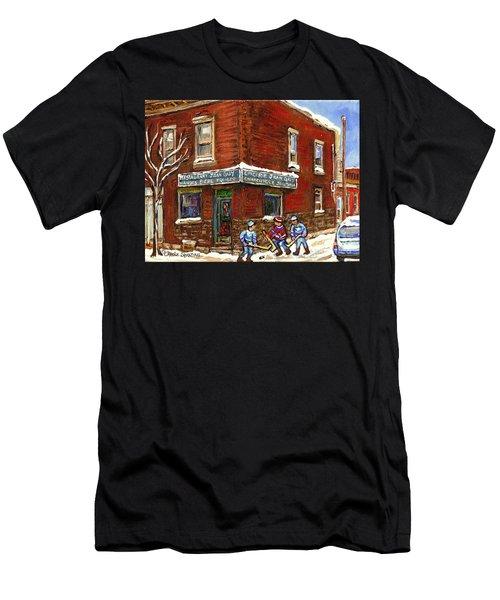 Restaurant Epicerie Jean Guy Pointe St. Charles Montreal Art Verdun Winter Scenes Hockey Paintings   Men's T-Shirt (Athletic Fit)