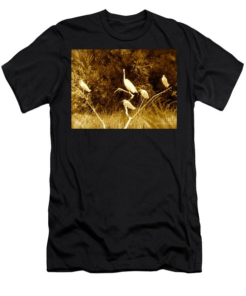 Resting Flock Sepia Men's T-Shirt (Slim Fit) by Anita Lewis