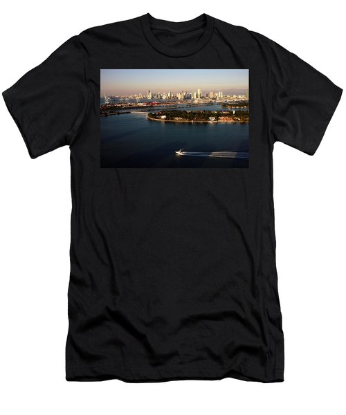 Retro Style Miami Skyline Sunrise And Biscayne Bay Men's T-Shirt (Athletic Fit)