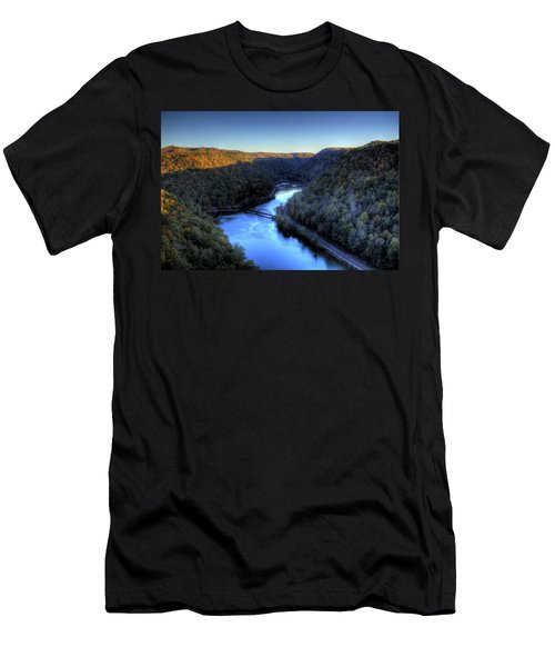 Men's T-Shirt (Slim Fit) featuring the photograph River Cut Through The Valley by Jonny D