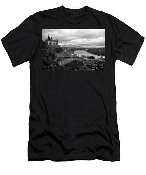 River Mino And Portugal From Tui Bw Men's T-Shirt (Athletic Fit)