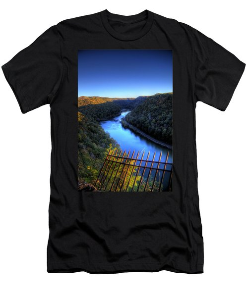 Men's T-Shirt (Slim Fit) featuring the photograph River Through A Valley by Jonny D