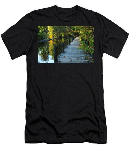 River Walk In Traverse City Michigan Men's T-Shirt (Slim Fit) by Terri Gostola