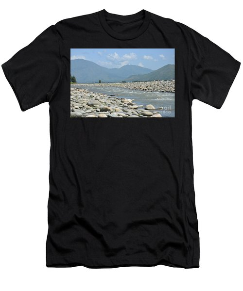 Riverbank Water Rocks Mountains And A Horseman Swat Valley Pakistan Men's T-Shirt (Athletic Fit)