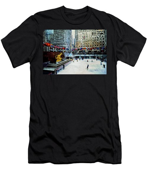 Rockefeller Center Ice Skaters Nyc Men's T-Shirt (Athletic Fit)