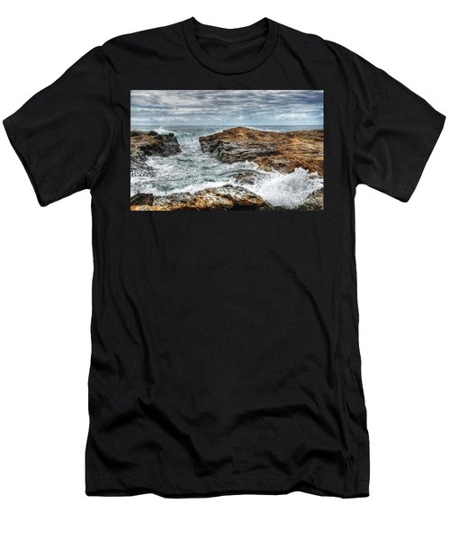 Rocks Ocean And Clouds Men's T-Shirt (Athletic Fit)