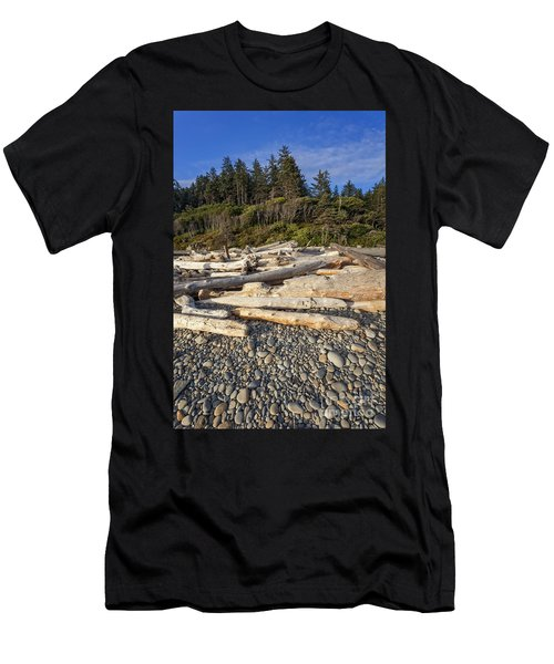 Rocky Beach And Driftwood Men's T-Shirt (Athletic Fit)