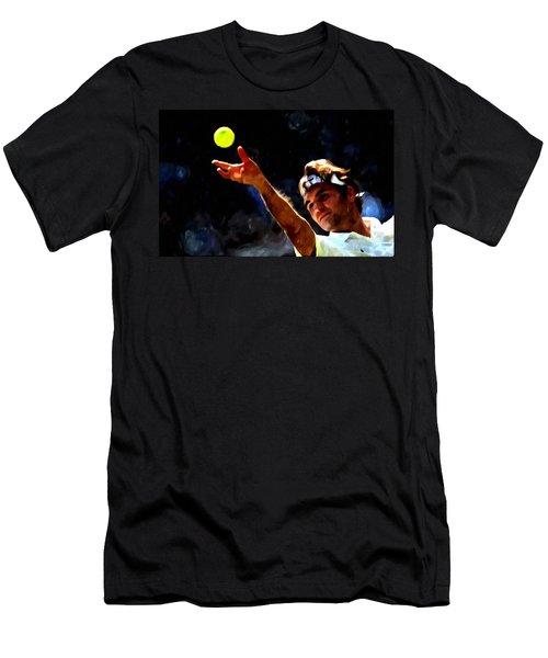 Roger Federer Tennis 1 Men's T-Shirt (Slim Fit) by Lanjee Chee