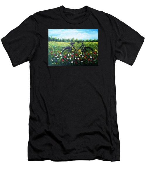 Men's T-Shirt (Slim Fit) featuring the painting Romantic Break by Vesna Martinjak