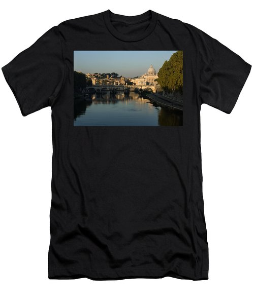 Rome - Iconic View Of Saint Peter's Basilica Reflecting In Tiber River Men's T-Shirt (Athletic Fit)