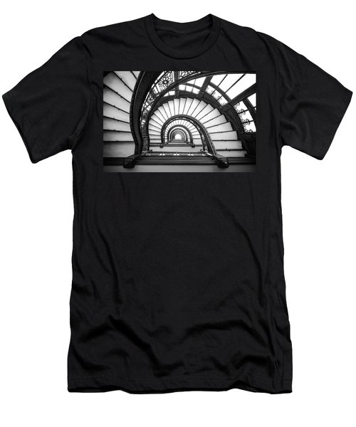 Rookery Building Oriel Staircase - Black And White Men's T-Shirt (Athletic Fit)