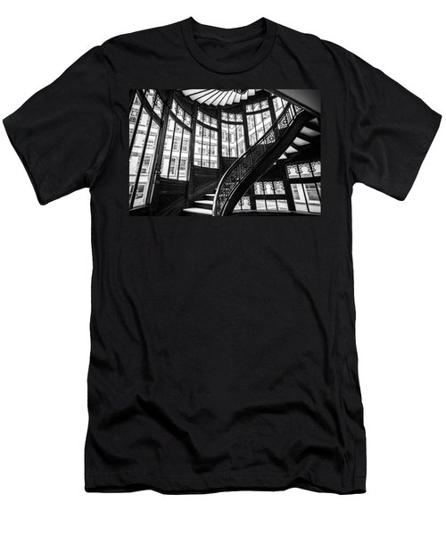 Rookery Building Winding Staircase And Windows - Black And White Men's T-Shirt (Athletic Fit)